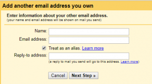 The pop up window that appears when you select to add another email address. Here, you can enter a preferred name and/or email address to send from in Gmail. In addition, you can specify a reply-to address.