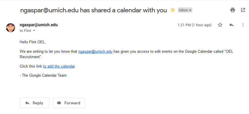 Shared Google Calendar Invitation Email with Clickable link to add the calendar