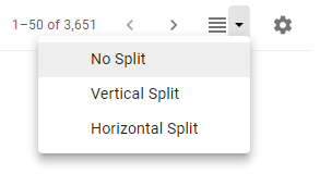 The option to toggle your preview pane will appear next to the Settings cog in the top right portion of your menu. Options include a vertical or horizontal split. The No Split option toggles off the Preview Pane.